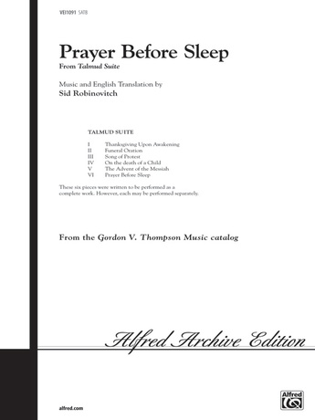 Prayer Before Sleep (from <I>Talmud Suite</I>) - Choral
